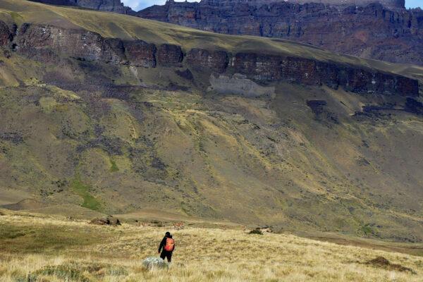 Persona en la pampa de Sierra Baguales