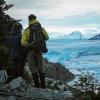 Personas y el Glaciar Grey en el Parque Torres del Paine