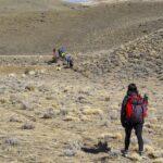 Personas en trekking por Sierra Baguales