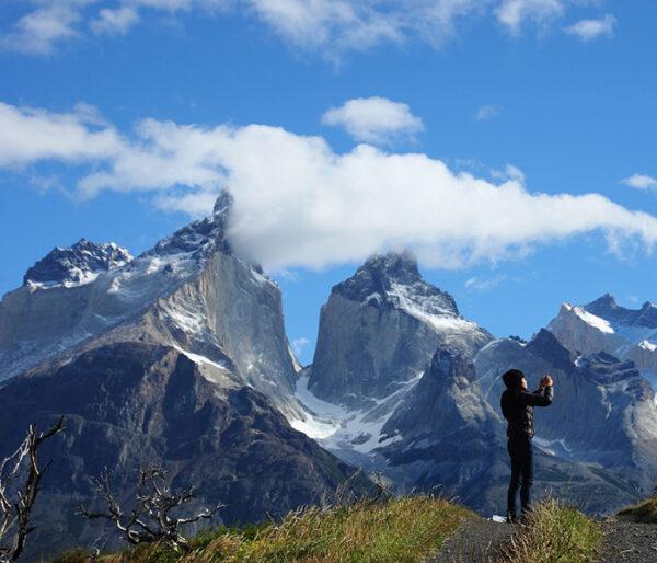 Vista de los Cuernos en Torres del Paine en la Patagonia